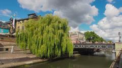 Regent's Canal in Camden Lock area of London in Timelapse Stock Footage