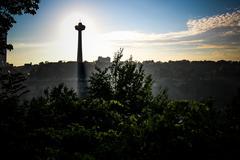 Niagara Falls Sunset Mist Skyline - stock photo