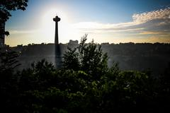 Niagara Falls Sunset Mist Skyline Stock Photos