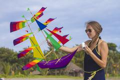 Girl with a kite - stock photo