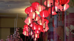 HD video a group of Chinese red lanterns Stock Footage