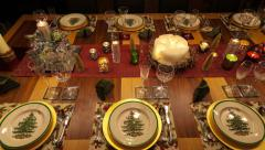 Christmas Table Finished Wide Time Lapse 4K version Stock Footage