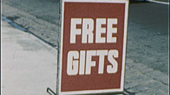 FREE GIFTS! Product Sign Promotion 1960s Vintage Retro Film Home Movie 7526 Stock Footage
