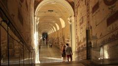 Roman statues in Vatican museum hallway Stock Footage
