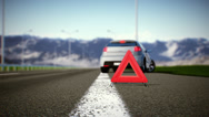 Stock Video Footage of Car and warning triangle concept