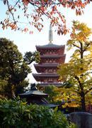 Pagoda of senso-ji temple in asakusa, tokyo, japan Stock Photos