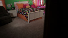 Dolly-Spacious kids bedroom Stock Footage