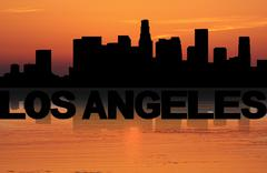Los angeles skyline reflected with text and sunset illustration Stock Illustration