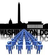 Lines of people with washington dc skyline illustration Stock Illustration
