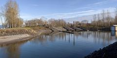 boat launch pads and steel poles panoramic view or. - stock photo