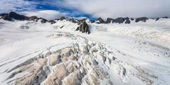 franz josef glacier from top view, new zealand - stock photo