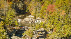 Visitors at Top of Linville Falls, NC during Autumn Stock Footage