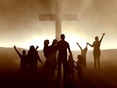 People at the Cross - stock illustration