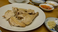 Stock Video Footage of HAINANESE CHICKEN SERVED WITH RICE, CHILLY, GINGER, SAUCE (CHICKEN RICE--1A