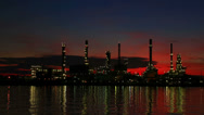 Stock Video Footage of Oil Refinery Plant Time Lapse morning twilight HD