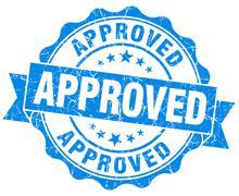 approved grunge blue stamp - stock illustration