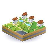 village houses - stock illustration
