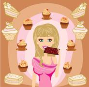 beautiful blonde girl eating chocolate - stock illustration