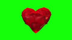 Stock Video Footage of Heart of rose petals on green-screen, loop ready file