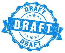 draft blue grunge stamp - stock illustration