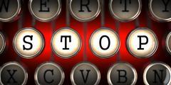 Stop on Old Typewriter's Keys. Stock Illustration
