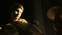Light hits a statue in Vatican Stock Footage