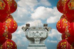 make a sacrifice to gods, chinese new year - stock photo