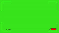 Video camera recording - battery weak - off - green screen Stock Footage