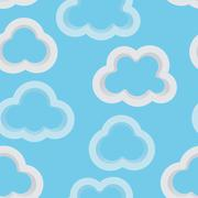 Seamless sky background with 3d clouds Stock Illustration