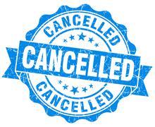 Cancelled grunge round blue seal Stock Illustration