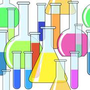 abstract background with motley chemical glassware - stock illustration