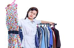 lady shopping for a dress - stock photo
