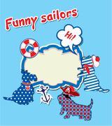Kortti hauska skotlanninterrieri koirat - merimiehet, ankkuri, pelastusrengas ja Piirros