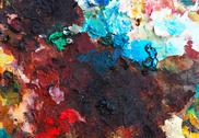 Stock Photo of colorful background made oil paints on a wooden