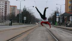 Breakdancer in the city Stock Footage