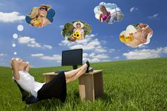 Businesswoman day dreaming in green field office Stock Illustration