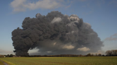 time lapse fire at tyre recycling plant, Sherburn, Yorkshire, United Kingdom - stock footage