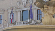 Stock Video Footage of One of the two fountains and the french Embassy in Farnese square, Rome, Italy
