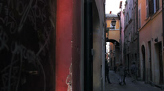 Pictorial old streets of Rome, Italy. Retro style Stock Footage