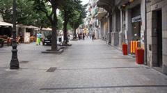 Timelapse of La Rambla street in Girona, Spain - stock footage