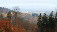 Beautiful autumn forest on the mountain and at the bottom of small European town Stock Footage