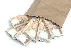 Stock Photo of thousand baht banknotes