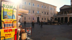 View at the Santa Maria in Trastevere square from a paper shop in Rome, Italy Stock Footage