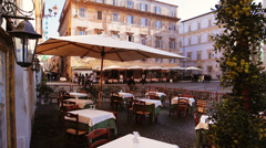 View at the Santa Maria in Trastevere square from a restaurant in Rome, Italy Stock Footage