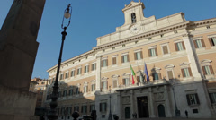 Montecitorio palace, Rome, Italy. The Italian Parliament Stock Footage