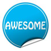 Stock Illustration of awesome round blue sticker on white background