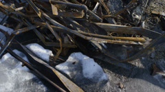 Rusted Bent Steel Scrap Metal Texture Snow Winter Art Stock Footage