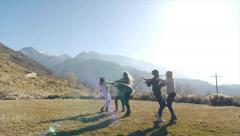 Five Teen Girls Twirling, Horsing Around Outdoors In Winter Stock Footage