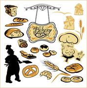 set of different bakery - bread, pie, biscuit, cakes. hand written text baker - stock illustration