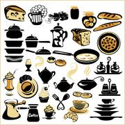 Set of different food - bread, pie, biscuit, cakes, eaggs, omelette, cheese, Stock Illustration